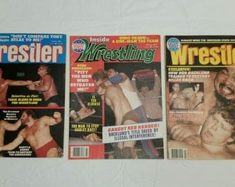 3 vintage pro wrestling magazines - the wrestler 1981 jan may & inside wrestling feb 1981 - wwe wwf awa ecw nwa sports flair valentine #B