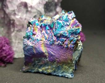 Medium Size Titanium Rainbow Aura Quartz Cluster