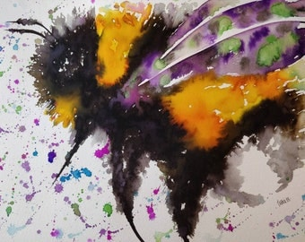 Giant Bumble Bee. A3 size. Original watercolour painting. Not a print.