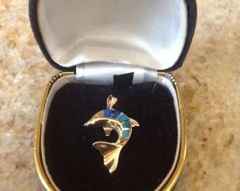 14K Yellow Gold Dolphin Pendant
