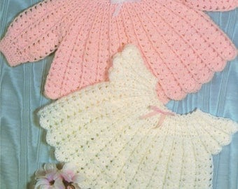 Baby Girl Angel Top PDF Crochet Pattern : Babies 18 and 19 inch chest . 4 ply . Angel Dress . Instant Download
