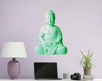 Buddha Statue Wall Decal, Buddha Wall Art, Boho, Housewarming Gift, Gift For