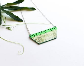 Colored Geometric Necklace in recycled paper - upcycled - collage neon green sparkle