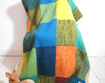 Colorful wool blanket vintage 1960s Didas Holland