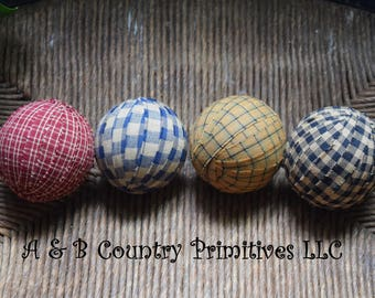 "6/Set (3"") Rag Balls, Country Home Decor, Primitive Home Decor, Country Bowl Fillers, Primitive Bowl Fillers, Country Craft Supplies"