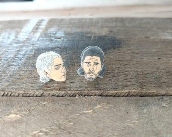Daenerys and Jon Snow earrings, Daenerys, Jon Snow, Game of Thrones earrings, game of thrones jewelry, novelty jewelry