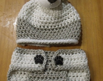 Handmade Crochet Puppy Dog Newborn Beanie & Diaper Cover Set 0-3 mts - Great Baby Shower Gift or Photo Prop!