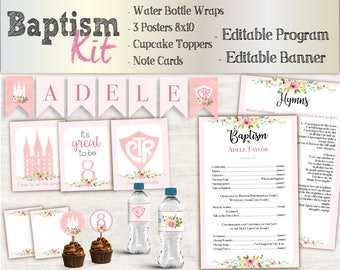 Baptism Girl Kit, Editable LDS Baptism Program, Cupcake Toppers, Water Bottle Wraps, Note Card, Poster Baptism, Instant Download, banner