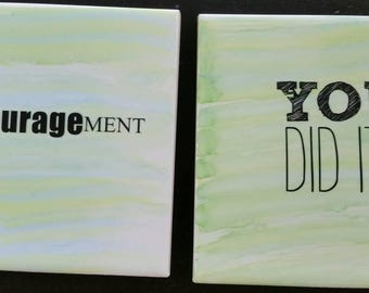 Set of 2 inspirational Decrative tiles great as coasters or many other uses Hand painted with free shipping