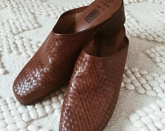 Vintage Dark Brown Slip Ons | mules | Womens Size 8