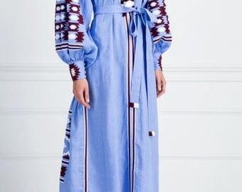 Free shipping! Light blue embroidered dress vyshyvanka boho style