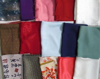 Japanese Silk KIMONO Fabric - Remnant Set 2