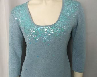 Size S-M Metallic Top/Silk Knit Top /Knit Top with Sequins/Blue  90,s Top with Turquise Sequins/Joseph A. Shiny Blue Top/No.384