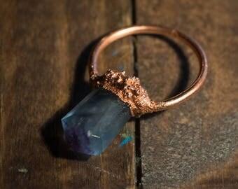 Copper pendant with blue fluorite