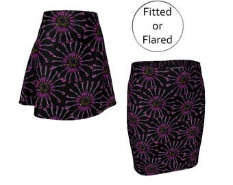 Purple Floral Skirt, Fitted Pencil or Flared Skater, Medium Length, Stretchy Spandex, Elastic Waist, XS S M L XL, Mid Rise, Office Fashion