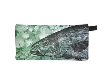 Fish Animal Pouch, Pencil Case, Zippered Coin Purse, Small Makeup Phone Cosmetic Jewelry Bag, Gift for Her, Back to School, Stocking Stuffer