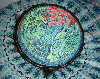 Trance Drum 22 cm +, drum with feathers + chime