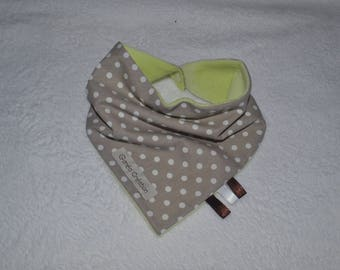 Taupe cotton bandana bib with white dots