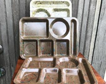 Melamine Texasware Lunch Trays Confetti Vintage Set of 3