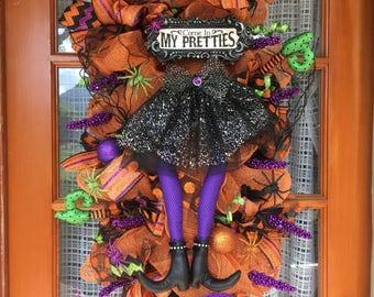 Welcome my pretties Halloween Wreath Witch Wreath