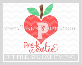 Pre K Cutie Back To School Svg, 1st Day Of School Svg, Pre-k svg, school SVG, DXF, PNG Files for Cricut and Silhouette cutting files