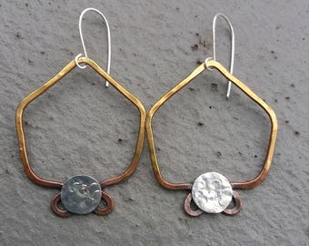 Hand Hammered Warrior Earrings in Brass and Sterling Silver