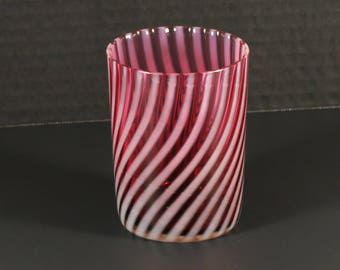 Vintage Art Glass Cranberry Opalescent Swirl Glass Tumbler