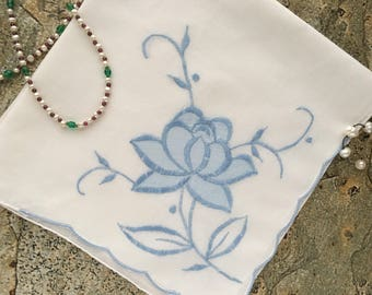 Blue Flower Applique Hanky, 60s Satin Embroidery, Chic Wedding Hanky, Something Old, Something Blue, Modern Bride Hanky, Flirty Flower Hanky