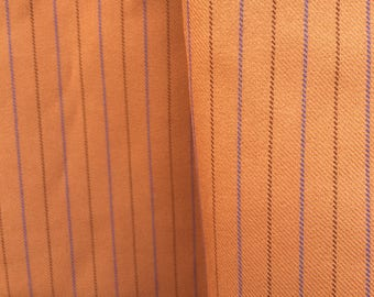Vintage Stripy Fabric - Burnt Orange Fabric - Retro Pinstripe Fabric - Dressmaking Fabric - Craft Fabric