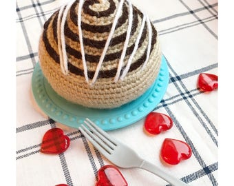 Cinnamon Roll Plush Toy with Icing/Play Food/Crochet Decor/Amigurumi/Kitchen Decor