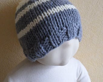 striped chunky wool baby hat size 9/18 months