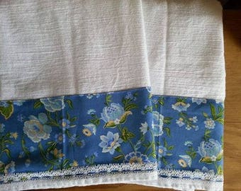 Set of Two Farmhouse Style Blue and Yellow Floral Soft Cotton Flour Sack Kitchen Hand Dish Tea Towels