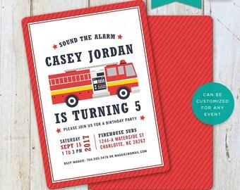 Fire Truck, Birthday, Invitation, Invite, Fire, Fire Fighter, Hose, Fire Hydrant, Alarm, Siren, Printable, 5x7, 4x6