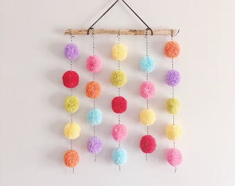 Large Pom Pom Driftwood | Pom Pom Hanging | Nursery Decor | Driftwood | Pom Pom | Wall Decor | Wall Hanging | Custom | Yarn Wall Hanging | P