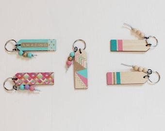 Wood keychains. Amazing. Tribal. Keychains. Hand painted.  Wood beads.