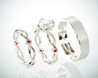 SALE Christmas in July! 14K White Gold Eternity Wedding Rings Set with Charles & Colvard Moissanite and Ruby and a matching Men's ring
