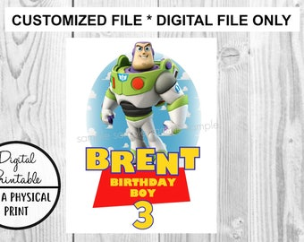Toy Story Birthday Printable Iron On Transfer - DIY shirt tshirt - Buzz Lightyear printable - personalized Customized Birthday Boy Girl