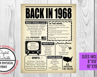 50th Birthday Poster Sign, Back in 1968 Newspaper Style Poster, Printable, Instant Download, 1968 Facts, 50 years ago, Anniversary Gift