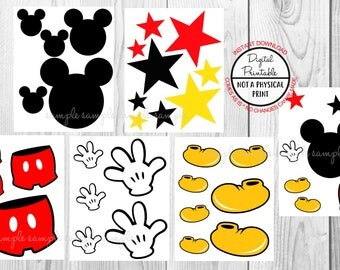 Mickey Mouse Centerpiece, Birthday Party Table Centerpiece, Party Cupcake topper, Printable, Instant Download