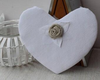 White heart hanging - decorative shabby - hanging heart - door - pink heart shabby - white heart in message