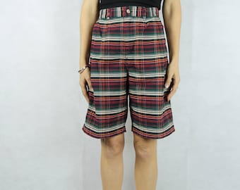 VINTAGE Classic 80s Madras Check Shorts Size S 8-10