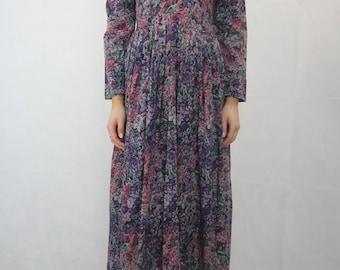 Vintage 80s TWOTONE Floral Print Dress Size XS (AU 8)