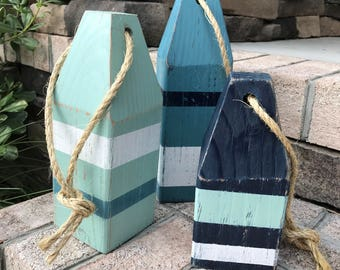 Lobster Buoys (Set of 3) - Wooden Buoys, Nautical Decor, Buoy Decor, Ocean Decor, Beach Decor
