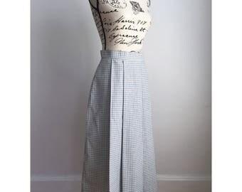 Vintage Blue and White Skirt, 80s Midi Skirt, Vintage Midi Skirt, Pleated Skirt