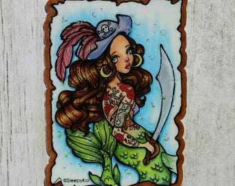 Ahoy mermaid! 3  Inch Vinyl Sticker inspired by mermaids and pirates!