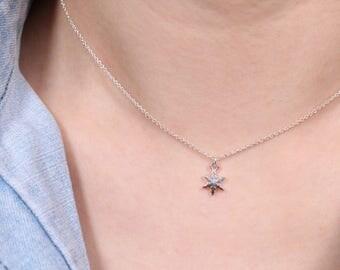 Silver Snowflake Necklace, Sterling Silver Necklace, Simple Silver Necklace, Tiny Snowflake Necklace, Small Silver Snowflake Necklace, Gift