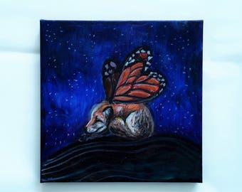 fox painting , fox original art , small oil painting , whimsical art , nursery decor , small nursery painting