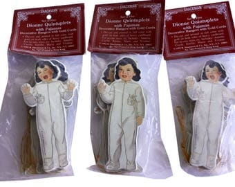 3 - Set of Five Dionne Quintuplets with Pajamas Decorative Hangers 1992