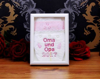 Embroidered Diaper gift parents will give away grandma and Grandpa + birth year for birth, baptism or birthday