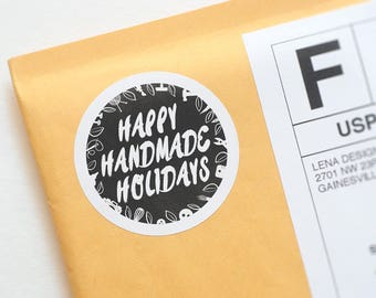"Handmade Holiday - ""Handmade"" Stickers - Holiday Stickers - Maker Stickers - Printed Stickers - Holiday Packaging - Seller Packaging Supply"